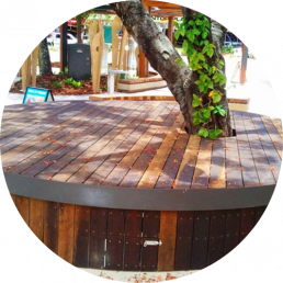 spotted gum decking timber coast deck with tree