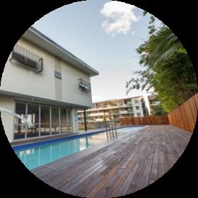 ironbark timber - timber deck with pool